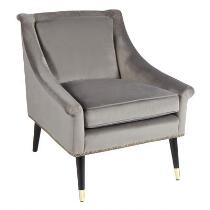 Gray Velvet Accent Chair with Nailheads
