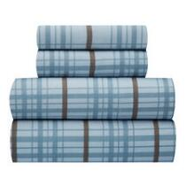 Blue/Brown Plaid Microfiber Sheet Set