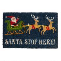 """""""Santa Stop Here"""" Coir Door Mat"""