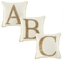 Gold Beaded Monogram Square Throw Pillow