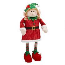 "28"" Red/Green Striped Socks Standing Elf Girl"