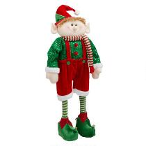 "28"" Green Striped Socks Standing Elf Boy"