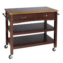 Walnut 2-Drawer Slatted Rolling Kitchen Island