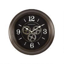 """15.5"""" Dark Brown Exposed Gears Wall Clock"""
