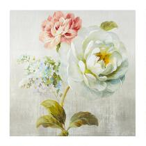 "30"" White/Pink Flowers Hand-Painted Canvas Wall Art"
