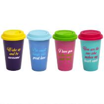 10-oz. Inspirational Double Wall Travel Mugs with Lids, Set of 4