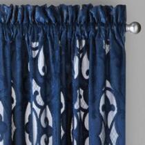 Cut Velvet Textured Window Curtains, Set of 2
