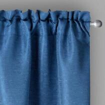 "84"" Highbridge Solid Textured Dark Blue Window Curtains, Set of 2"