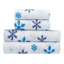 Sunbeam® Blue Snowflakes Print Fleece Sheet Set
