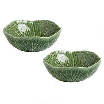Green Cabbage Ceramic Bowls, Set of 2