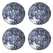 Blue Calico Ceramic Soup Bowls, Set of 4