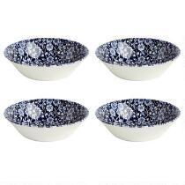 Blue Calico Ceramic Cereal Bowls, Set of 4