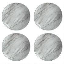 Gray Marble Swirl Heavyweight Melamine Dinner Plates, Set of 4