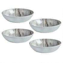 Gray Marble Swirl Heavyweight Melamine Cereal Bowls, Set of 4