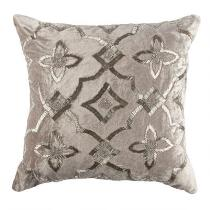 Silver Embellished Tile Velvet Square Throw Pillow