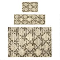 Natural/Gray Tile Printed Rug Set, 3-Piece