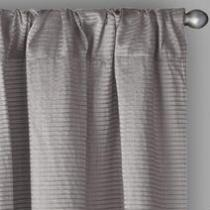 Chenille Striped Window Curtains, Set of 2