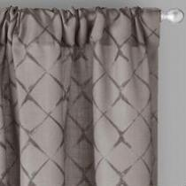 Diamond Ogee Rod Pocket Back Tab Window Curtains, Set of 2