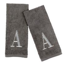 Gray/Silver Monogram Cotton Hand Towels, Set of 2