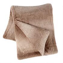 Natural Faux Fur Plush Throw Blanket