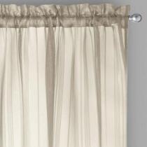 "84"" Lurex Stripe Rod Pocket Window Curtains, Set of 2"
