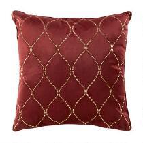 Dark Red Geo Swirl Embellished Square Throw Pillow