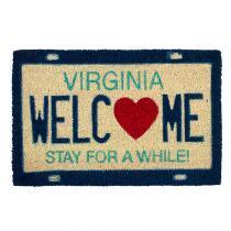 """""""Welcome"""" Virginia License Plate Coir Door Mat"""