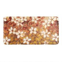 White/Red Floral Memory Foam Cushioned Floor Mat