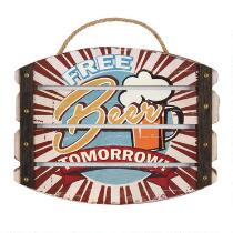 "10""x13"" ""Free Beer"" Slatted Sign"