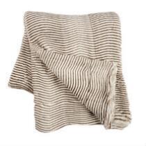 Horizontal Brown Stripe Faux Fur Throw Blanket