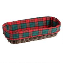 Plaid Bread Warming Stone and Lined Basket Set