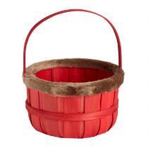Red Fur-Style Trimmed Holiday Bushel Basket