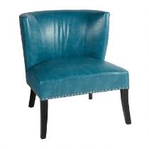 Nailhead Upholstered Faux Leather Accent Chair