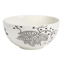 Black/White Batik Leaf Ceramic Serving Bowl