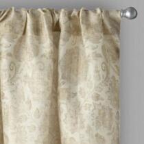 Raphaelle Leaf Damask Rod Pocket Window Curtains, Set of 2