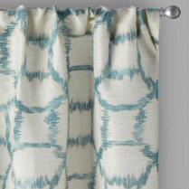 Sebastian Teal Geometric Rod Pocket Window Curtains, Set of 2