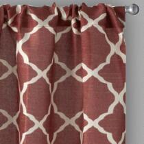 Solid Frette Rod Pocket Window Curtains, Set of 2 - Dark Red