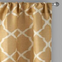 Solid Frette Rod Pocket Window Curtains, Set of 2 - Gold