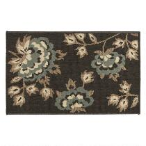 "20""x33"" Charcoal Flower Accent Rug"