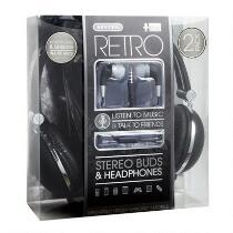 Black Retro Headphones with Earbuds