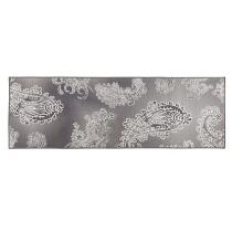 2' x 5' Gray/Ivory Damask Runner Rug