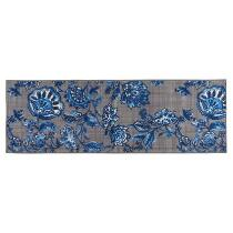 "20""x60"" Navy/Gray Floral Runner Rug"