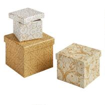 Festive Handmade Square Gift Boxes, Set of 3