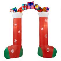 9.5' Airblown® Inflatable Lighted Stocking Archway Yard Display