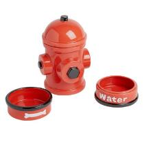 Ceramic Fire Hydrant Pet Food Bin and Bowl Set, 4-Piece