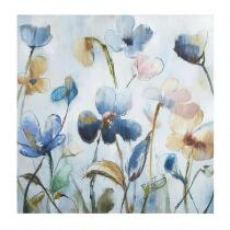 "30"" Blue Flowers Square Canvas Wall Art"