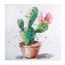 "30"" Cactus Planter Canvas Wall Art"