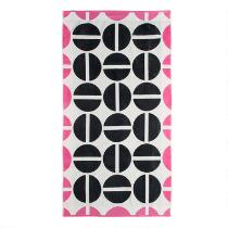 Black/Pink Circles Double Jacquard Oversized Beach Towel