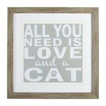 "18"" ""All You Need is Love and a Cat"" Framed Wall Art"
