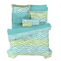 Casual Living by Jessica Sanders Blue and Green Zebra Reversible Comforter Set